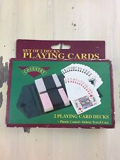 COVENTRY PLAYING CARDS - Set Of 2 Decks,  Plastic Coated, Deluxe Travel Case New