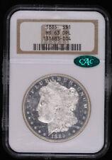 1885 MORGAN SILVER DOLLAR COIN NGC MS63 DMPL CAC