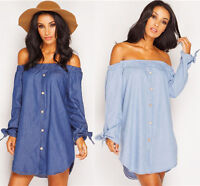 UK PLUS SIZE WOMENS OFF SHOULDER BLOUSE BARDOT BUTTON DENIM LOOK SHIRT DRESS TOP