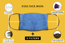 Kids Washable Reusable Natural Cotton Face Mask with 5 Filters For Boy & Girl