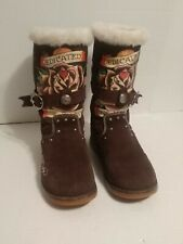 ED HARDY WOMEN'S BROWN SUEDE/FLEECE BOOTS SZ 8.(DEDICATED TO THE ONE I LOVE) USD