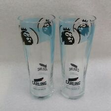 2 Stunning Special Edition CARLING Lager Beer Pint Glasses  NEW - Home Bar - Pub