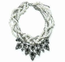 White Pearl Crystal Layered Link Chain zara Fashion Choker Bib Statement N283