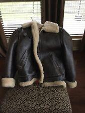Mens Vintage Leather Shearling Bomber Jacket