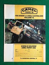 PY13 Pubblicità Advertising Clipping 24x18 cm (1985) CAMEL TROPHY '86 scheda
