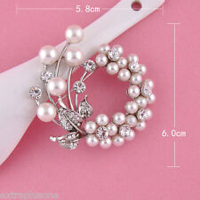 SILVER FAUX PEARL ALLOY FLOWER RHINESTONE DIAMANTE CRYSTAL VINTAGE LOOK BROOCH