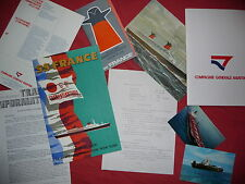 PAQUEBOT FRANCE : IMPORTANT LOT DE DOCUMENTS D'EPOQUE ,1970 ,french line .CGT