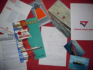 PAQUEBOT FRANCE : IMPORTANT LOT DE DOCUMENTS D'EPOQUE ,1970 ,french line .CGT