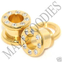 0391 Screw-on / fit Gold Clear CZ Flesh Tunnels 0 Gauge 0G Ear Plugs 8mm Steel