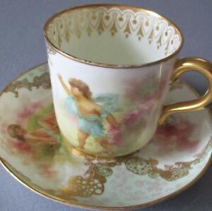 Antique c1890s BROWNFIELDS English Porcelain Demitasse Cup & Saucer CHERUBS Gilt