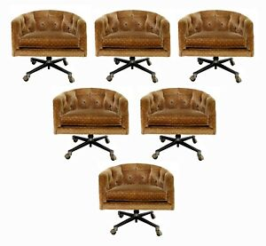 Mid Century Modern Tufted Set of 6 Rolling Barrel Lounge Dining Armchairs 1960s