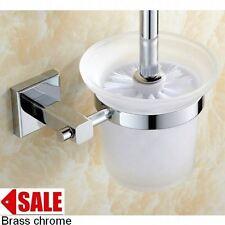 BATHROOM  TOILET BRUSH SET BRASS MIRROR CHROME NO-CORROSION HOLDER +BRUSH +CUP