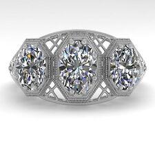 2 CTW Past Present Future VS/SI Oval Cut Diamond Ring 18K Deco Gold ... Lot 9003