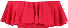 Red Layered Frill Off Shoulder Bardot Cropped Top  SIZES 8 -14