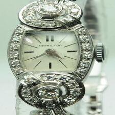 Vintage Hamilton Womens Diamond 14K White Gold Platinum Watch W233016