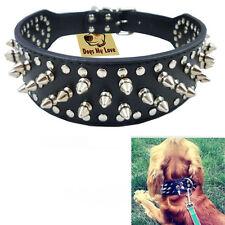 "Adjustable Sharp Spiked Studded PU Leather Collar Dog Pet Pitbull Mastiff 17-20"""