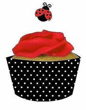12 X Ladybug Fancy Cupcake Pick 20095019 Party Baby Shower 1st Birthday Ladybird