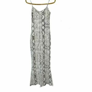Supre Size 6 Beige Snake Print Low Back Flare Leg Jumpsuit New With Tags