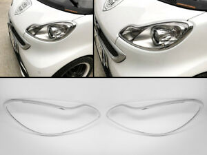 Chrome Head lights Lamps Surround Frame Rims Fits SMART Fortwo 451 07-14