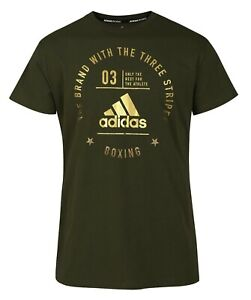 adidas Boxing T-Shirt Gym Casual Tee 100% Cotton Mens Green Size Small