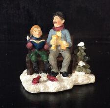 Man & Boy on Bench w/ Birds Character Snow Scene Christmas Holiday Train Village
