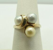 10K Yellow Gold Triple 5.3mm Pearl Ring Size 5..75 11.5mm 2.7 Grams M123