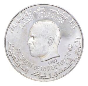 Better Date - 1969 Tunisia 1 Dinar - SILVER *406
