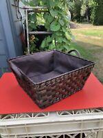 BROWN WOVEN WICKER BASKET with HANDLES - Lined - Window Basket