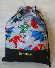 FREE NAME *Superheroes* X-STRONG EMBROIDERED LIBRARY BAG KINDY DRAWSTRING BOYS