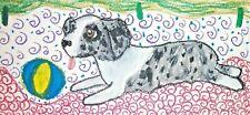 Miniature American Shepherd Dog Art Print 5x7 Mini Aussie playing ball by Ksams