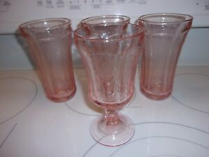 """3 Vintage Pink Madrid Federal Recollection Water Tea Tumbler Glass 6"""" & 1 Goblet"""