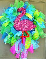 Handmade Pink Flamingo Deco Mesh Wreath Tiki Bar Pool Spring Summer Door Decor