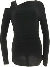 Lisa Rinna Collection Knit Top Cut Out Shoulder Black L NEW A299557