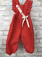 Vintage Red And Polka Dot Quilted Baby Overalls Jumpsuit Romper Size 12 Month