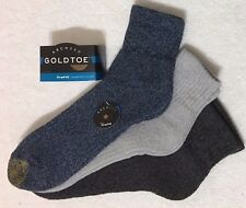 Gold Toe  Arch 360 Trufit  3-Pair  Men's Quarter Crew Socks Blue / Grays  (9621)