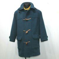 PRECA 90s Vintage Wool Duffle Coat Blue Tartan Plaid Mens EU 46 Large UK 36