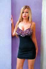 Sexy Black Purple Diva Animal Print Body con Stretchy Ruffle Mini Pencil Dress L