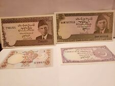 Pakistan 4  UNC notes 1,2,5 and 10 Rupees  with PH