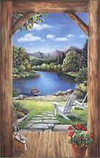 Lakeside View Log Doorway Wallpaper Mural LM8989M