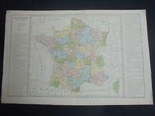 OLD MAP: Th. LEBRUN & A. LE BEALLE~ca 1860~FRANCE HISTORIQUE~FRANCE HISTORY