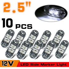 """10x Oval 2.5"""" LED Truck Trailer 2 Diode Side Marker Lights Lamp Clearance White"""