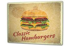 Tin Sign XXL Food Restaurant Hamburger cheeseburger metal plate plaque
