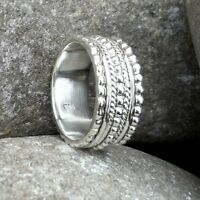 Solid 925 Sterling Silver Meditation Ring Statement Ring Spinner Ring Size sr401
