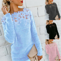 Plus Size Warm Lace Sttiching Tops Plush Pullovers Jumpers Knitted Sweater