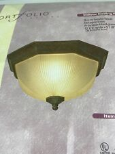 Portfolio Lighting Indoor Ceiling Fixture Rustic Brown Octagon Base