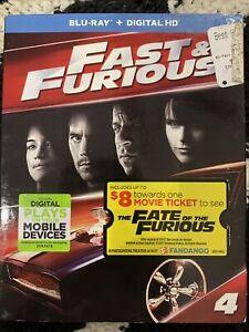 FAST & FURIOUS  4 BLU-RAY DISC + digital copy  paul walker, vin diesel