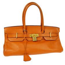 5c7bdb3480c4 Authentic HERMES SHOULDER BIRKIN Hand Bag Orange Taurillon Clemence JT06680