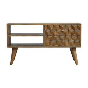 TV Stand Wood  Media Unit | Geometric Chestnut Cube Style | 2 Drawers 2 Shelves