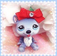 Littlest Pet Shop # 1617 Light Blue & White Blythe Husky Dog Red Authentic LPS
