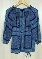 Lucky Brand Women's Medium Blue Semi Sheer 3/4 Sleeve Boho Woven Top